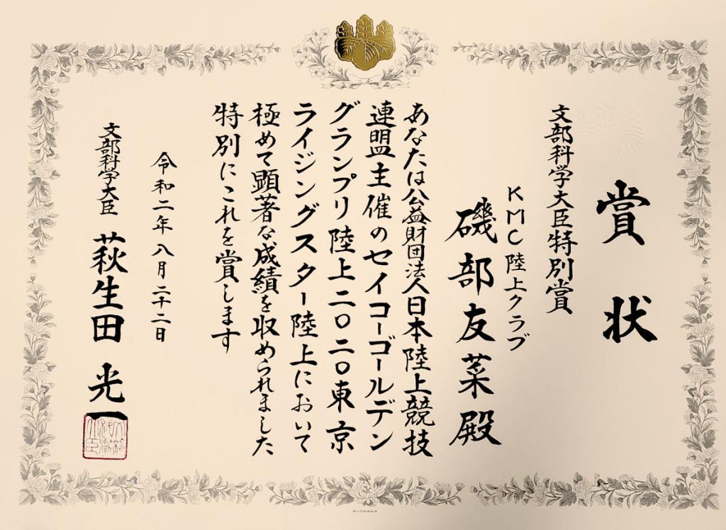 文部科学大臣特別賞